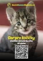 Na obrázku může být: text, kde se píše KociciDomovSlunicko.cz Dar pro kočičky V Kočičim domove Sluničko QR platba